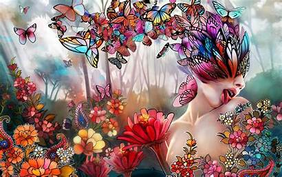 Butterfly Psychedelic Butterflies Fantasy Flowers Nature Abstract