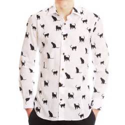cat collar shirt s white shirt with black printed cats small collar