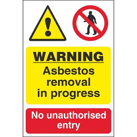 warning asbestos removal  progress  unauthorised entry