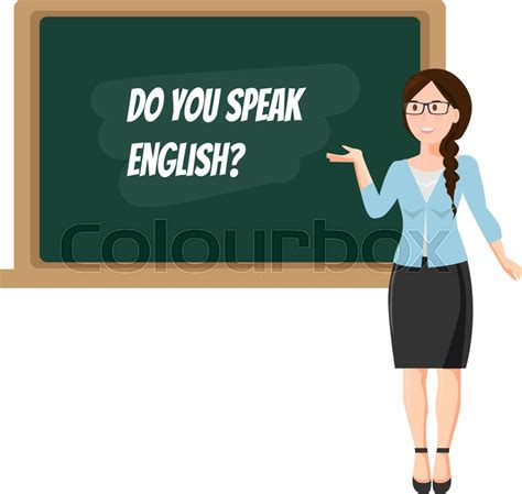 english teacher  blackboard  white background stock
