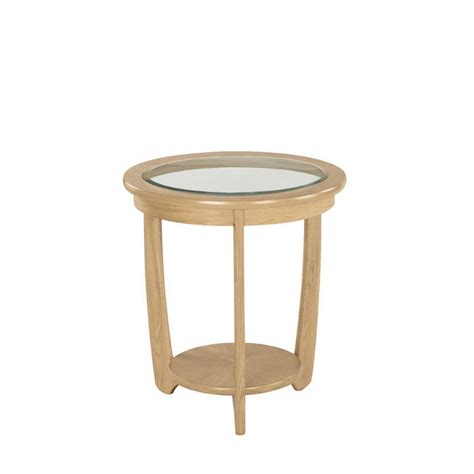 nathan shades oak glass top  lamp table side tables
