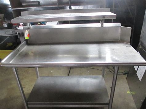 commercial stainless steel work prep table  overhead