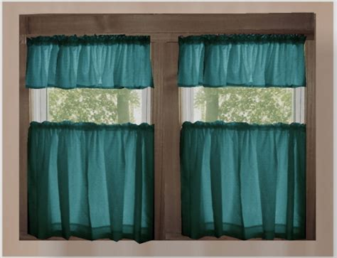 solid teal kitchen cafe tier curtains