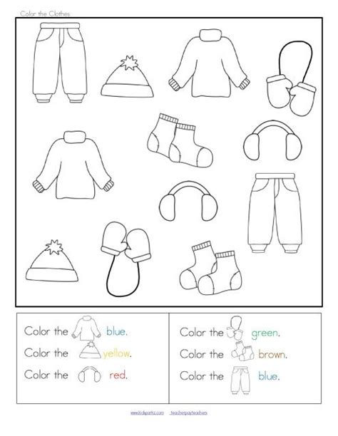 winter clothes sort categorizing centers and printables
