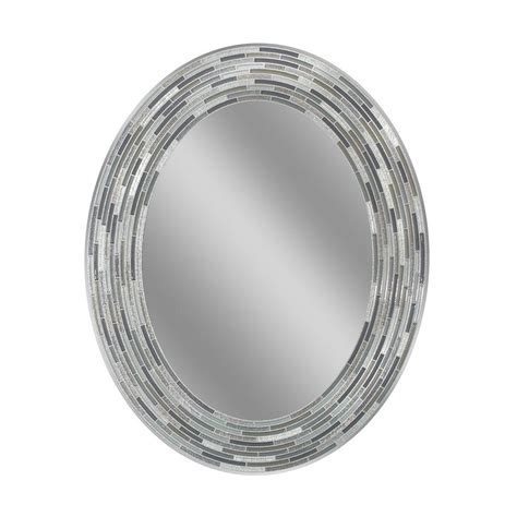 deco mirror        reeded charcoal oval tiles