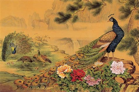 diy frame beautiful peacock flowers poster chinese