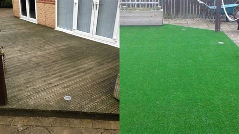 slippery decking solved  artificial grass