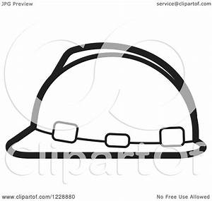 Clipart of a Black and White Hardhat Helmet Icon - Royalty ...