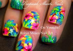 Hot neon pink flower nails tropical plumeria nail art