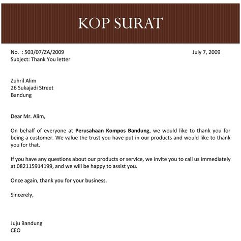search results for contoh informal dan formal letter of