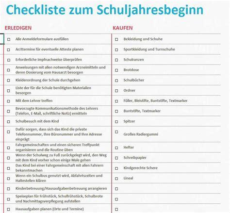 checkliste zum schuljahresbeginn excel tabelle