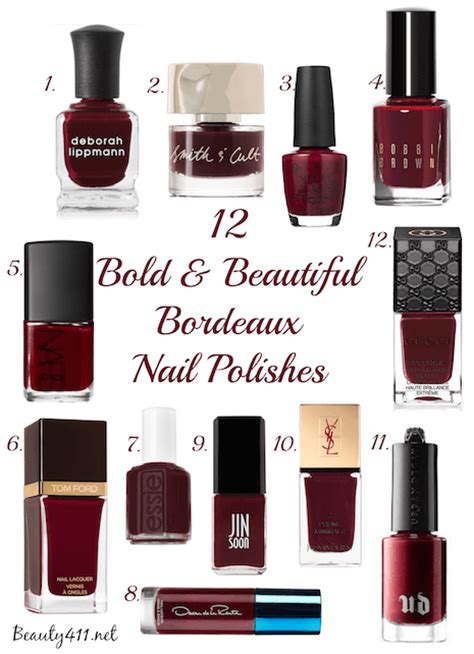 bold  beautiful   bordeaux nail polishes