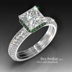 engagement rings square cut silvet blaze engagement ring set with peridot frame