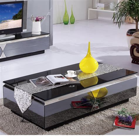 Storage is an important aspect for the design of the cube, a coffee table that transforms with ease to accommodate more guests. Modern minimalist living room coffee table glass coffee table upscale fashion gray mirror ...