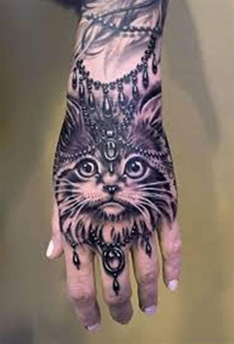 attractive cat tattoo  hand