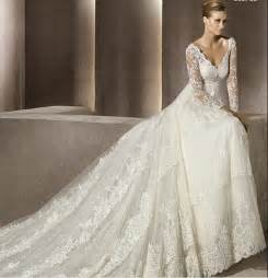 wedding gowns with sleeves fall lace wedding dress with sleeves sangmaestro