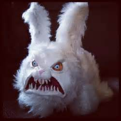 bunny mask creepy scary fluffy bunny white teeth