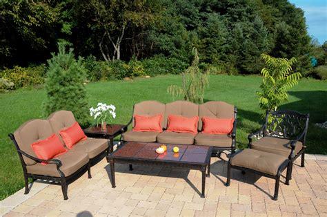 patio furniture seating set cast aluminum 6pc valencia