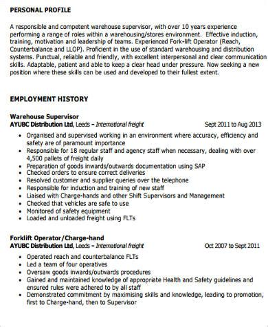 supervisor resume sle 9 exles in word pdf