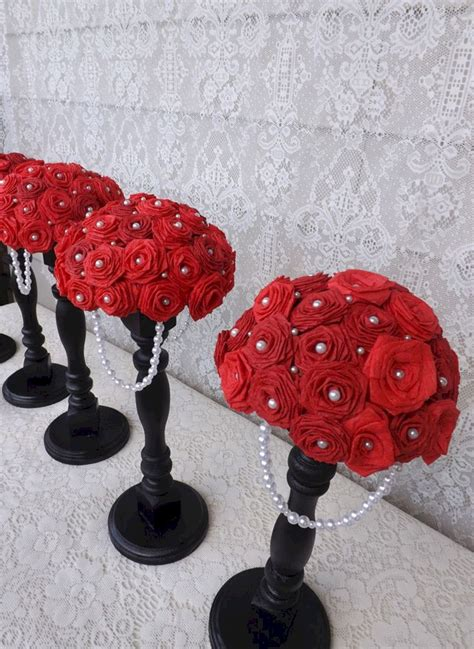 Black And White Wedding Centerpieces Red Roses Oosile