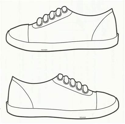 Template Shoe Sneaker Printable Shoes Preschool Coloring