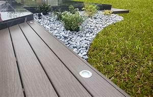 amenagement paysager avec terrasse en bois composite With jardin paysager avec piscine 5 terrasse en bois composite fiberon xtrem galaxy jardin