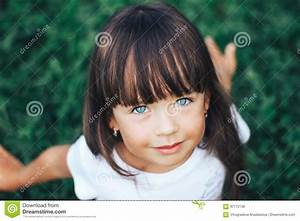 Close Portrait Of Very Beautiful Little Girl With A Bang ...