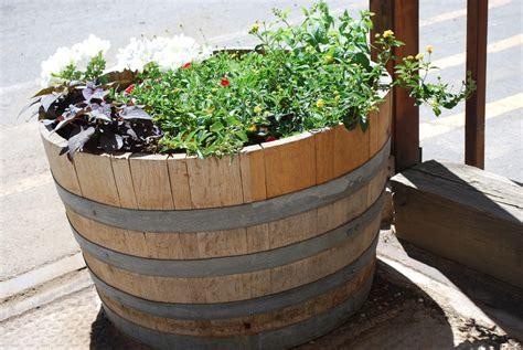 wine barrel planters pl box oak wine barrel planter the redwood