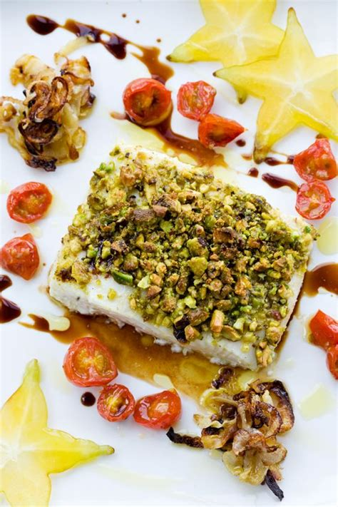 gastrique cuisine pistachio crusted halibut with fennel balsamic gastrique