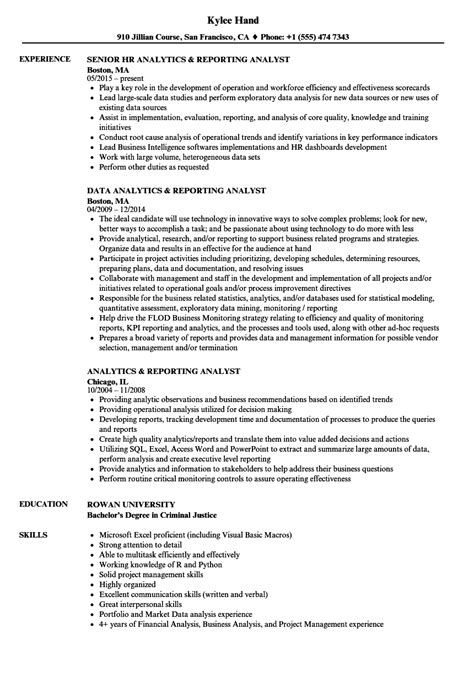 Resume For Analytics by Analytics Reporting Analyst Resume Sles Velvet