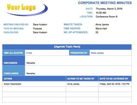 meeting minutes template  microsoft word