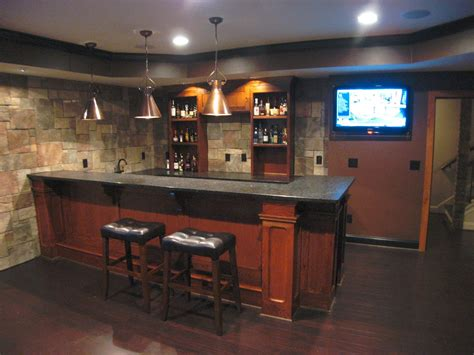 Custom Basement Bar With Stone Veneer On The Walls