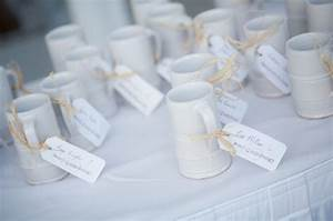 Unique wedding favors coffee mugs tied with thanks for Coffee mug wedding favors
