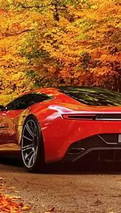 Red Aston Martin Autumn Scenery iPhone 5 Wallpaper HD