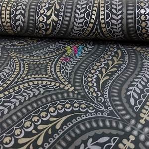 Holden Farah Damask Asian Leaf Pattern Wallpaper Metallic ...