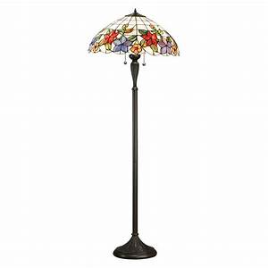 Interiors 1900 country border 2 light tiffany floor lamp for Tiffany floor lamp floral