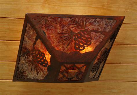 pine cone drop ceiling mount light rust