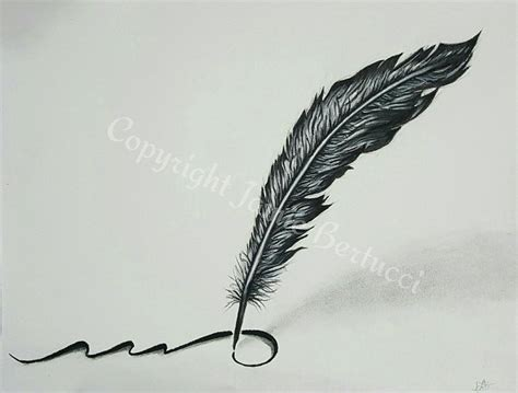 original  charcoal pencil feather quill drawing