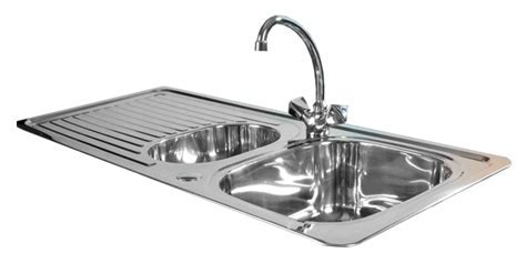 Stainless steel kitchen sink transparent