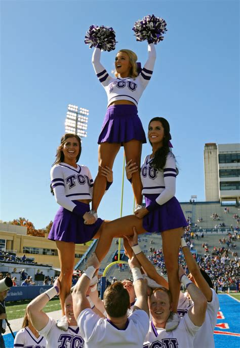 oct   lawrence ks usa tcu horned frogs cheerleaders perform