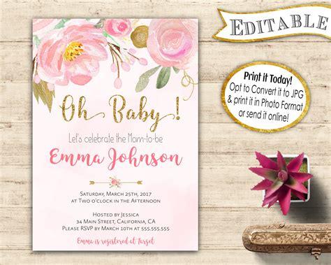 baby shower editable invitation instant