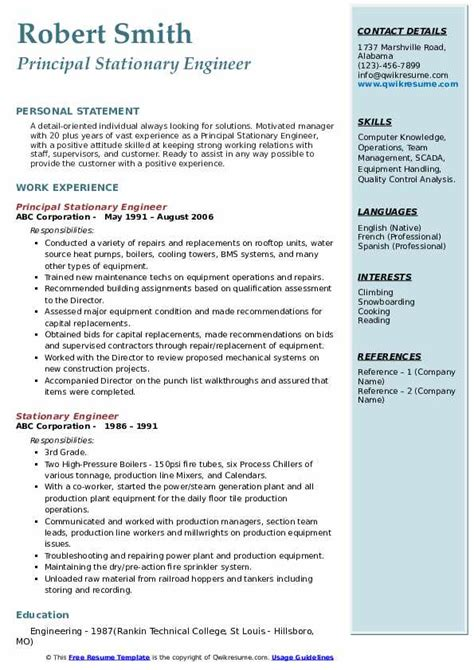 stationary engineer resume samples qwikresume