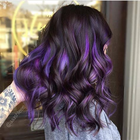 Purple Highlights For Dark Brown Hair Onvacations Wallpaper