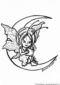 dibujo  colorear elfo en la luna img  images