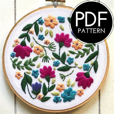 Cathleen britschge on floral machine embroidery design. 20+ Flower Embroidery Patterns - Cutesy Crafts