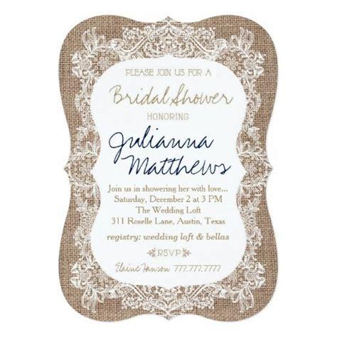 burlap  lace bridal shower khaki navy invitation
