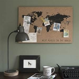 Pele Mele Maison Du Monde : p le m le carte du monde en li ge marron et noir 60x40 ~ Melissatoandfro.com Idées de Décoration