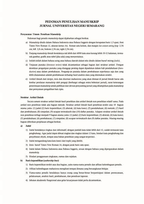 pedoman penulisan manuskrip jurnal unnes pdf docdroid
