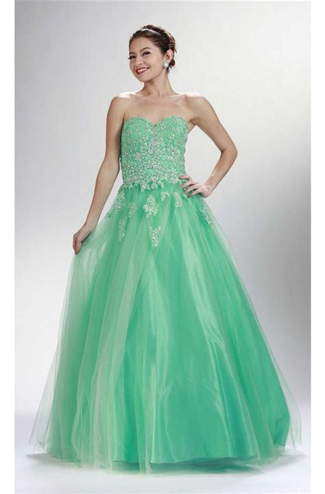 A Line Sweetheart Corset Long Mint Green Tulle Lace Beaded ...