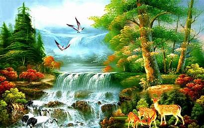 Paradise Waterfalls Forest Wallpapers Painting Waterfall Pw